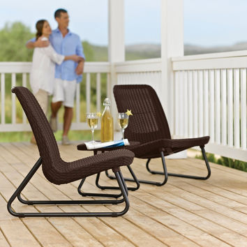 3 Piece Outdoor Patio Furniture Set In Brown Woven Rattan Resin