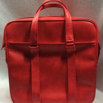 Vtg Samsonite Silhouette Red Carry-On Overnight Bag Soft Side Vinyl Luggage Tote