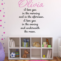 I Love You... Personalized Custom Name Decal - by Decor Designs Decals, Quote Wall Decals -Kids Nursery Vinyl Stickers Home Bedroom Decor, Wall Decals, Sticker PP37