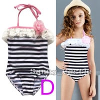 Girl Swimsuit Bathing Suit Toddler Kid Child One Piece Bikini Set Swimwear 1-10Y