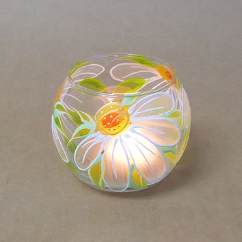 Candle Holder Hand painted Glass sphere Tea light holder Home decor White Margaritas Wedding candle holder Mother'sday gift Romantic Flowers