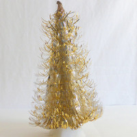 Vintage Gold and Silver Tinsel Aluminum Foil Christmas Tree Tabletop Christmas Tree Christmas Decoration Christmas Home Decor Foil Tree