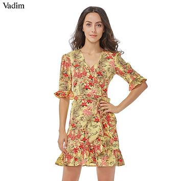 Vadim women sweet ruffles floral pleated dress cross V neck bow tie short sleeve ladies casual mini dresses vestidos QZ3064