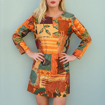 Long Sleeve Shift Dress in Bold Autumnal Handmade by Laura Ralph