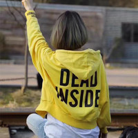 Fashion Casual Letter Print Long Sleeve Cardigan Hooded Zip Coat