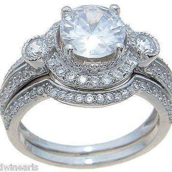 Top Quality 3.50ct Halo Cubic Zirconia Matching Wedding Band Ring Set