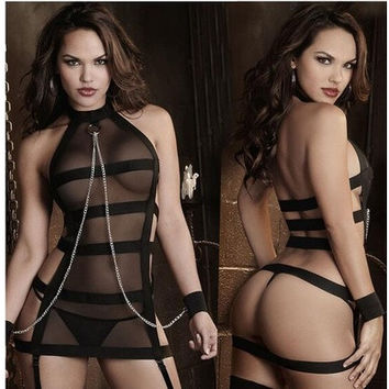 Sexy underwear Black mesh Sexy Perspective cosplay Strap jumpsuits sexy underwear (Size: One Size, Color: Black) [9325854980]