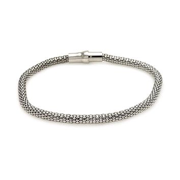 .925 Sterling Silver Rhodium Plated Snake Scale Italian Bracelet