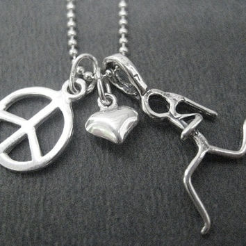 PEACE LOVE RUN Sterling Silver Necklace - Choose 16, 18 or 20 inch Sterling Silver Ball Chain - Choose your Run Charm