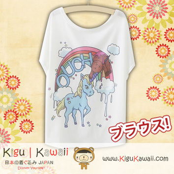 New Naughty Unicorn Fashionable Loose and High Quality Spring and Summer Tshirt Free Size KK562