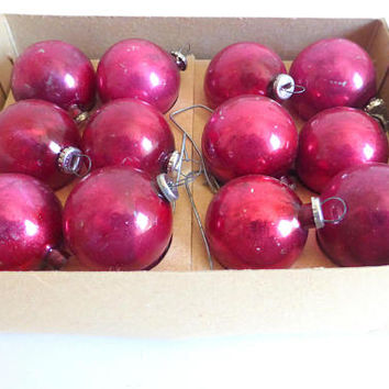 Vintage Mini Red  Round Glass Christmas Tree Ornaments Set of 12 Made in Japan Chippy Feather Tree Ornaments Christmas Decoration