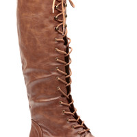Tan Faux Leather Miss Military Knee High Lace Up Combat Boots