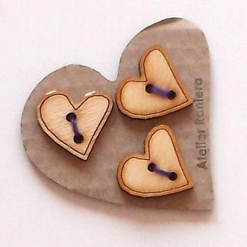 Set of 3 Heart Wooden Buttons, 3 cm Diameter, Lasercut