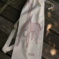 Cotton 'French Bread' bag ~Giraffe~ female red, Yoga mat ~ Beach bag,cross body backpack sling bag, plastic bag storage, swimming sports