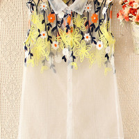 Spring Blossom. Yellow Floral Embroidery White Organza Sheer Blouse Top