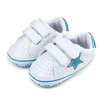 PEAP78W Infant Boy Girl Soft Sole Shoes Sneaker Newborn Baby Soft Five-Pointed Star Baby Toddler Shoes Breathable Kids Shoes