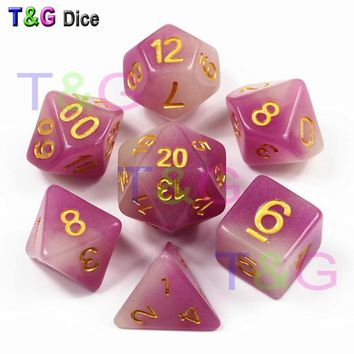 Purple Color 7 Pc/set  D4 D6 D8 D10 D10% D12 D20  for Dungeons and dragons,Game Dice,polyhedral Dice Set