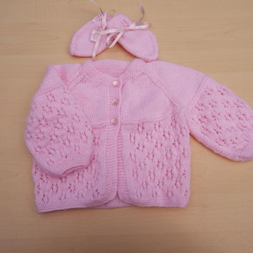 Hand knitted pink baby cardigan and mittens set 3 - 6 months