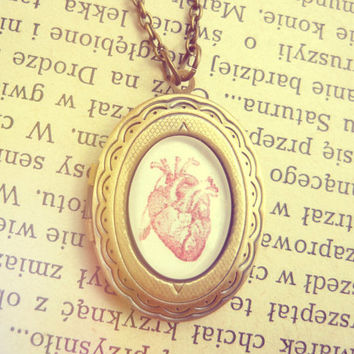 Vintage Antique Brass Anatomic Human Heart  Locket Necklace