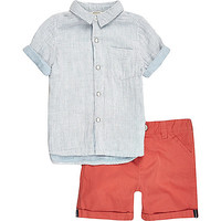Mini boys blue stripe shirt shorts outfit - baby boys outfits - mini boys - boys