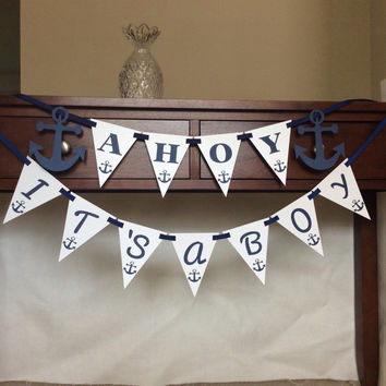Ahoy It's a Boy Baby Shower Banner - Nautical theme baby shower banner - It's a Boy banner - laser cut banner