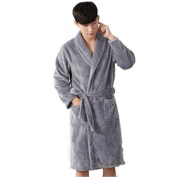 Unisex Flannel Robe Mens Coral Fleece Bathrobe Male Women Sleepwear Long-Sleeve Lovers Lounge Nightgowns For Men Home Clothing