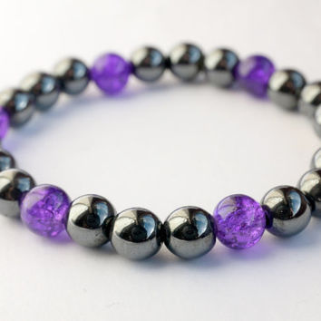 purple bracelet, hematite bracelet, uk jewellery