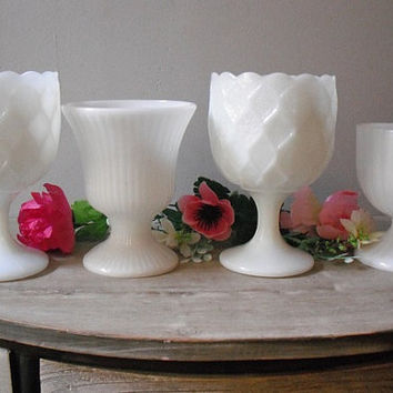 4 vintage white Milk Glass pedestal vases .... Wedding ... special Event ... Cottage decor