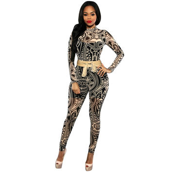 Sexy Club Elegant Overalls 2017 New Long Sleeve Mesh Black tribal Printed Plus Size Women Bodycon Jumpsuits And Rompers
