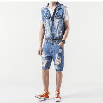 Helisopus Hiphop Cowboy Blue Denim Men's Casual Jumpsuits Denim Blend Jumpsuits Cargo Short Pants Denim Overalls Men's Rompers