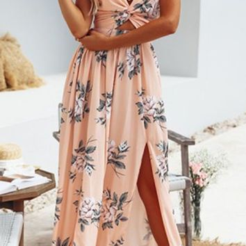Rose All Day Burgundy Floral Pattern Sleeveless Spaghetti Strap Twist V Neck Halter Cut Out Bow Back Double Slit Casual Maxi Dress - 3 Colors Available