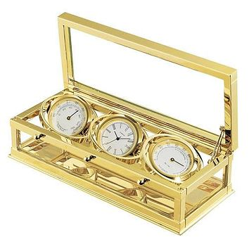 Personalized Free Engraving Weather Station 24K Goldplated Three Clocks