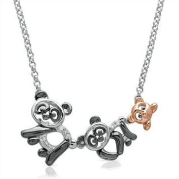 Diamond Mom, Dad & Baby Panda Pendant in Sterling Silver - Pendants & Necklaces - Jewelry - Helzberg Diamonds