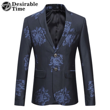 Men Slim Fit Grey Blazer Designs New Arrival Stage Wear Mens Casual Black Floral Printed Blazer Jacket