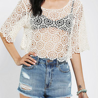Lucca Couture Crochet Cropped Tee