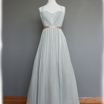 Halter Style Vintage Style Silk Chiffon Dress with hand by AvailCo