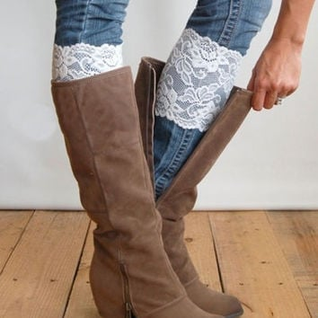 Women's Sexy Stretch Lace Flower Leg Warmers Lace White Trim Toppers Boot Socks Cuffs = 1946202628