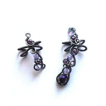 Wire wrapped purple ear cuffs set, No piercing earrings, Earring set, Cartilage earring set, Gothic ear cuffs, Asymmetrical earrings