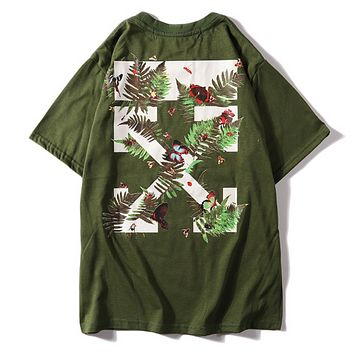 Off White New fashion bust letter print and back leaf butterfly cross print couple top t-shirt Army Green