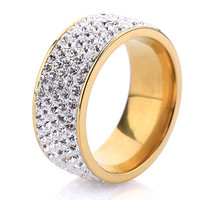 18K Gold Plated Crystal Ring 5 Rows Jewelry Women Style Fashion Love