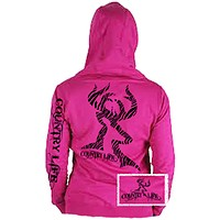 Country Life Outfitters Pink Zebra Deer Head Hunt Vintage Bright Hoodie