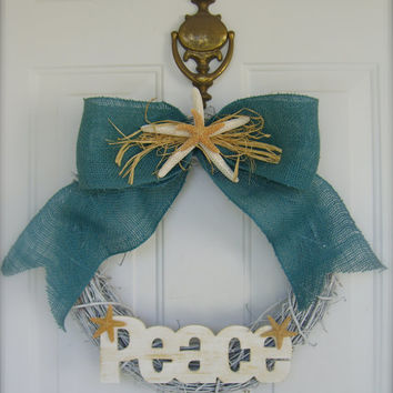 Wreath-Holiday Beach House Decor Rustic Starfish Wreath-PEACE-Nautical Wreath, Etsy Holiday Wreaths, Beach Wedding Decor, Hostess Gifts