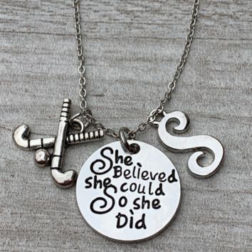 Personalized Field Hockey She Believed She Could So She Did Necklace