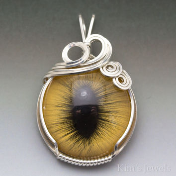 Yellow Glass Cat Eye Eyeball Sterling Silver Wire Wrapped Pendant
