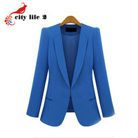 Black Friday Plus Size 4XL Fashion Street Jackets Women 2016 Spring Slim Casaco Blazer Casual Coats Candy Color Blazer Feminino