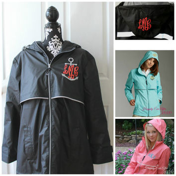 Monogram Raincoat Wind and Waterproof Coral Jacket Personalized Custom Embroidery Charles River Outerwear Monogrammed Gift