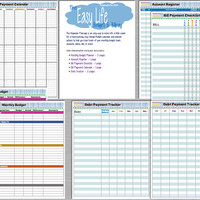 The EASY Life Budget & Billpay Planner Package - Kit contains 8 pages - PDF document - INSTANT Download - Budget, Bill Tracker, Debt, Etc!