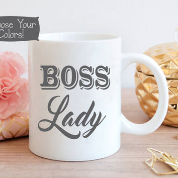 BOSS LADY Coffee Mug, Business Office Decor, Gift for Her, Boss Gift, Quote Mug, Office Idea, Birthday, Drinkware, Entrepreneur Accessory