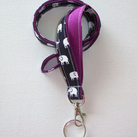 Lanyard ID Badge Holder - Dark Navy Black and white elephants with white pin polka dots Geranium purple plum - Lobster clasp and key ring