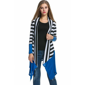 Women's Casual Long Sleeve Open Front Striped Asymmetrical Hem Cardigan